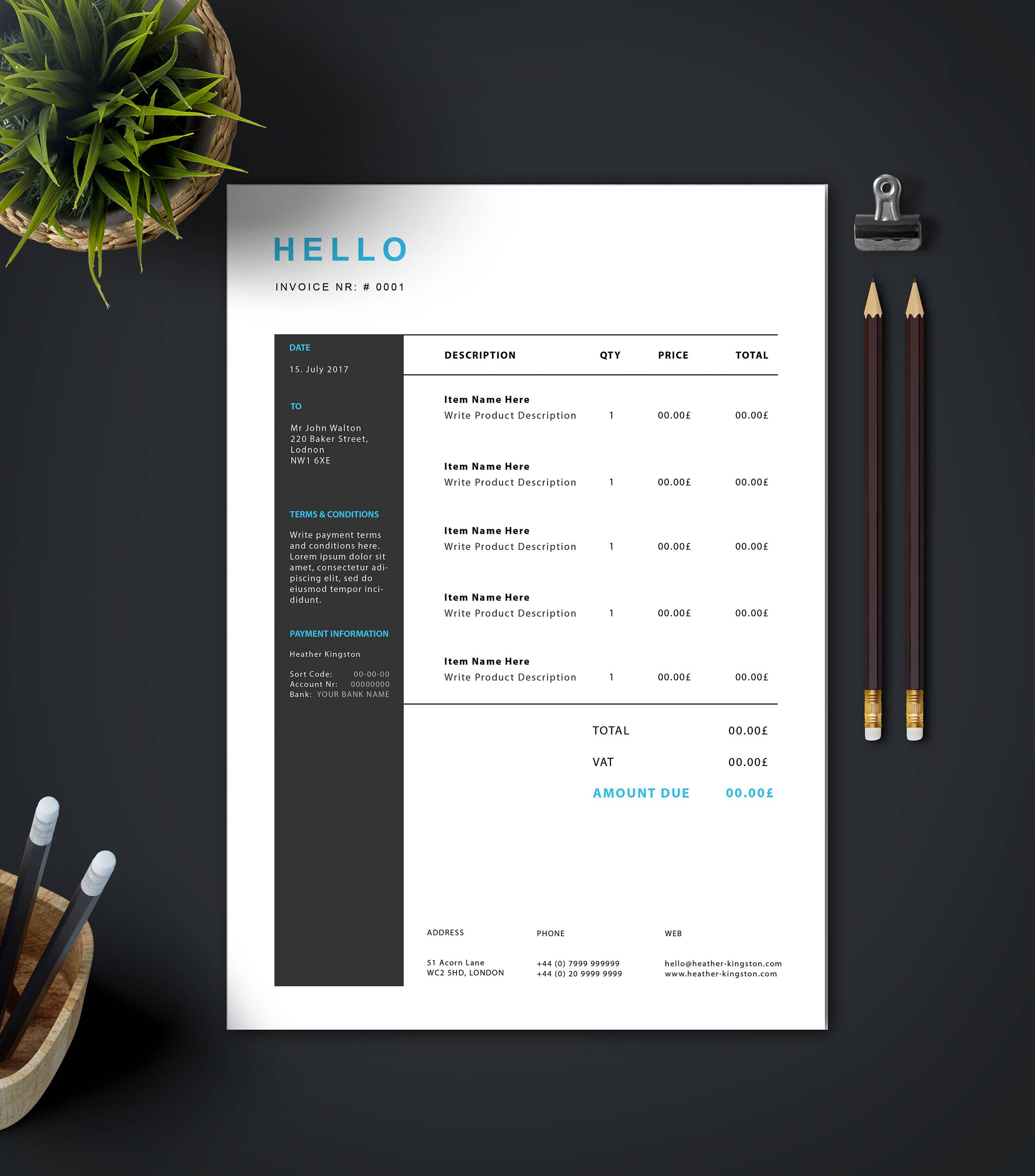 Stylish Invoice Template | DIN A4 + US Letter | Invoice Design ...
