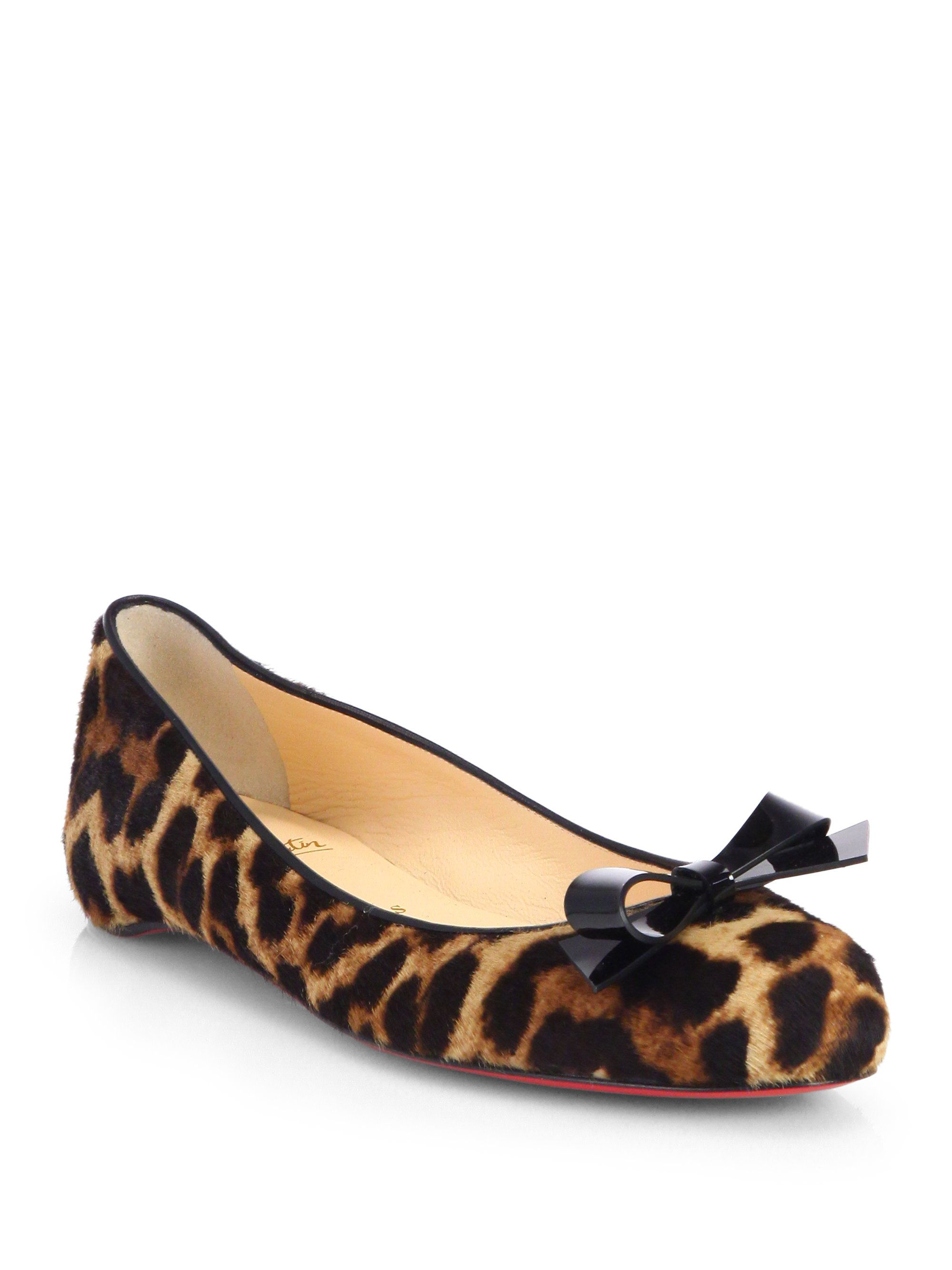 new style 2cd71 241f9 Women's Simplenodo Leopard-Print Calf Hair Ballet Flats ...