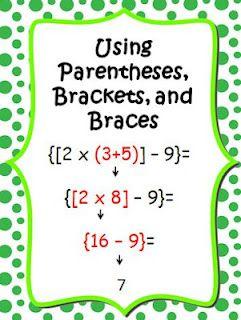 Common Core Math Posters Using Parentheses & Braces   Educational ...
