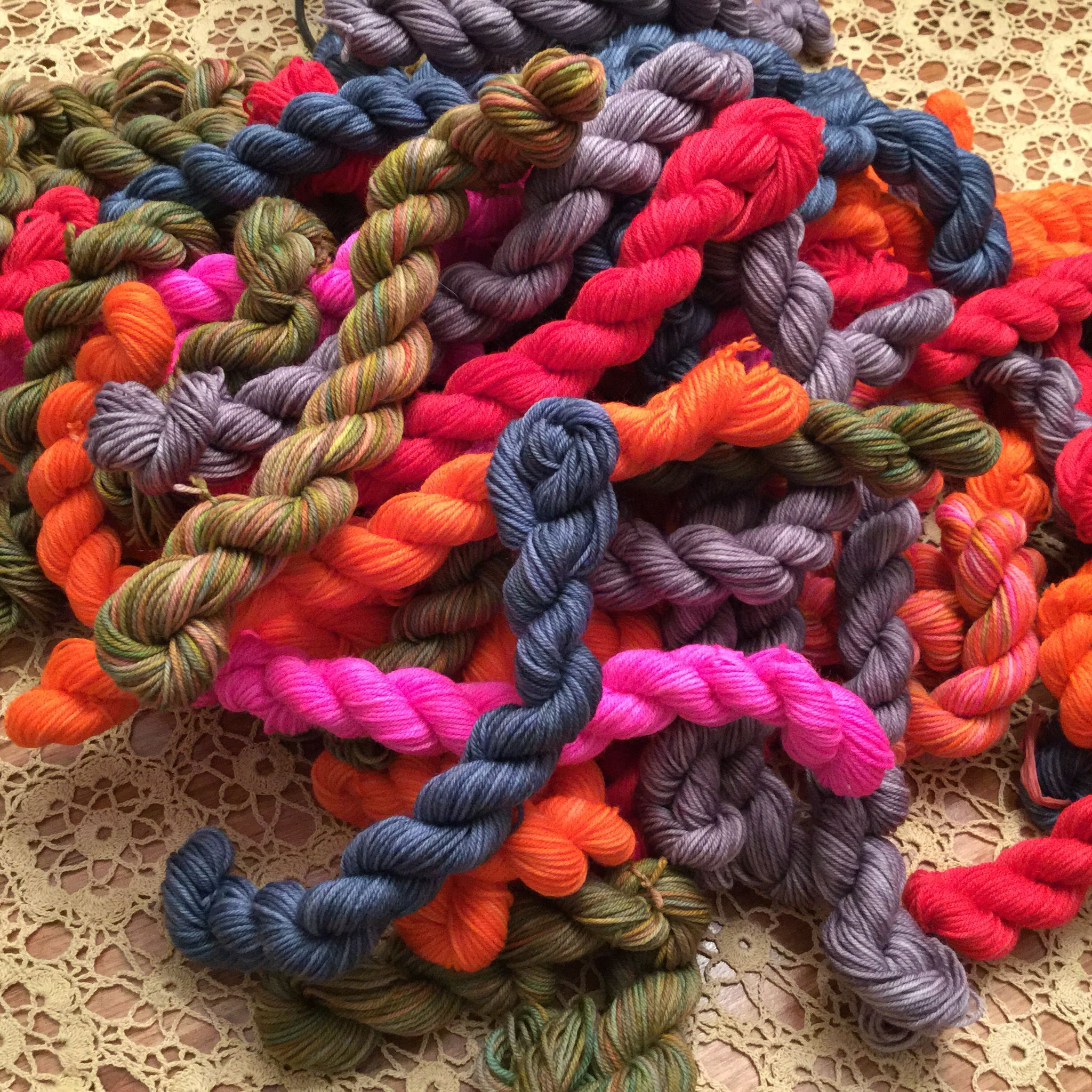 "Mr. Rutsen Studio ""C"" Twist.  Want just a taste, try a twist. This is a twist of approx. 52 yards of our ""Casey"" yarn, which is 75/25 SW Merino/Nylon 4 ply fingering Yarn. Check us out on Facebook and MtRutsenStudio.com.  #yarn #fiber #wool #merino #sheepandwool #knitting"