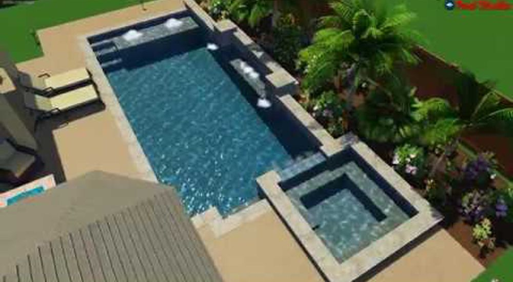 3D Pool Design - Custom Geometric Pool Design With Bubblers, Lights & Hot Tub / Spa - Design Your Pool Online