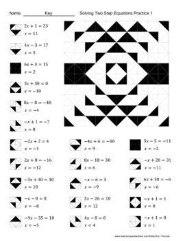 Solving Two Step Equations Color Worksheet Practice 1 Secundaria Matematicas Material Didactico Para Matematicas Ecuaciones
