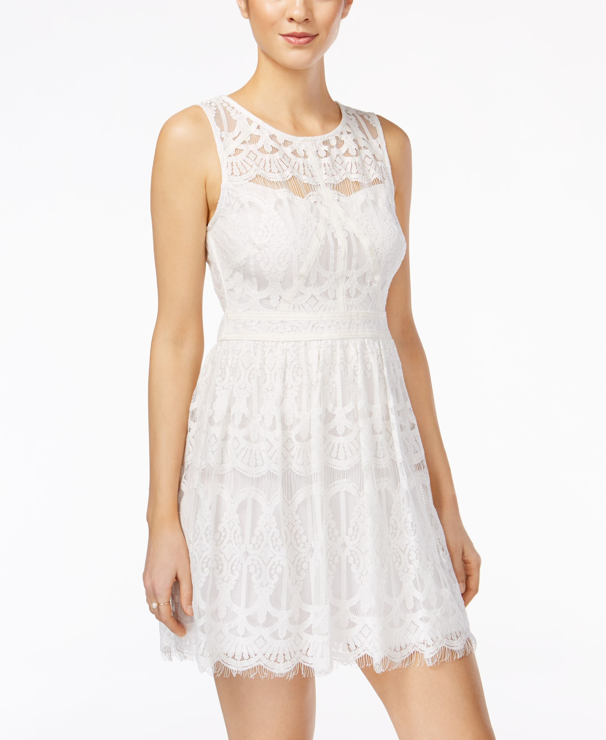 Lace dress macys  As U Wish Juniorsu Illusion Lace Dress  Products  Pinterest  Products