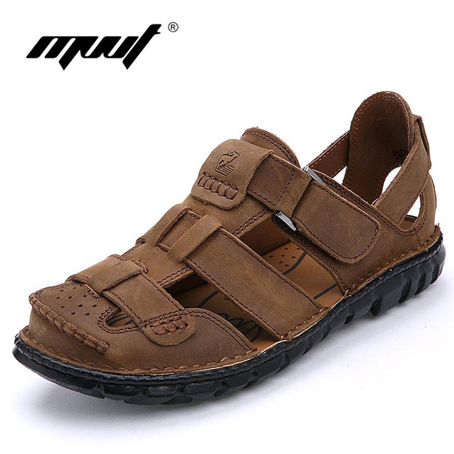 2017 Genuine leather sandals men brand quality men's sandals cofmort cool summer  sandals comfort soft leather