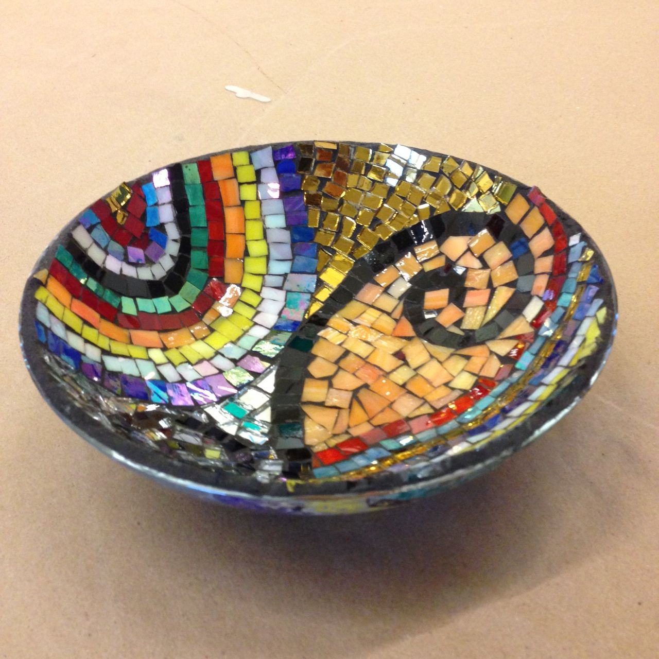 Glass mosaic on glass bowl created by Patricia!