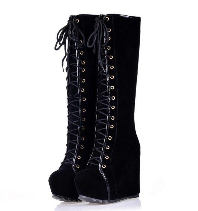 Fantastische Damen Goth Roman Super-Plattform Keilabsatz Schnüren kniehohe Stiefel #gothclothes