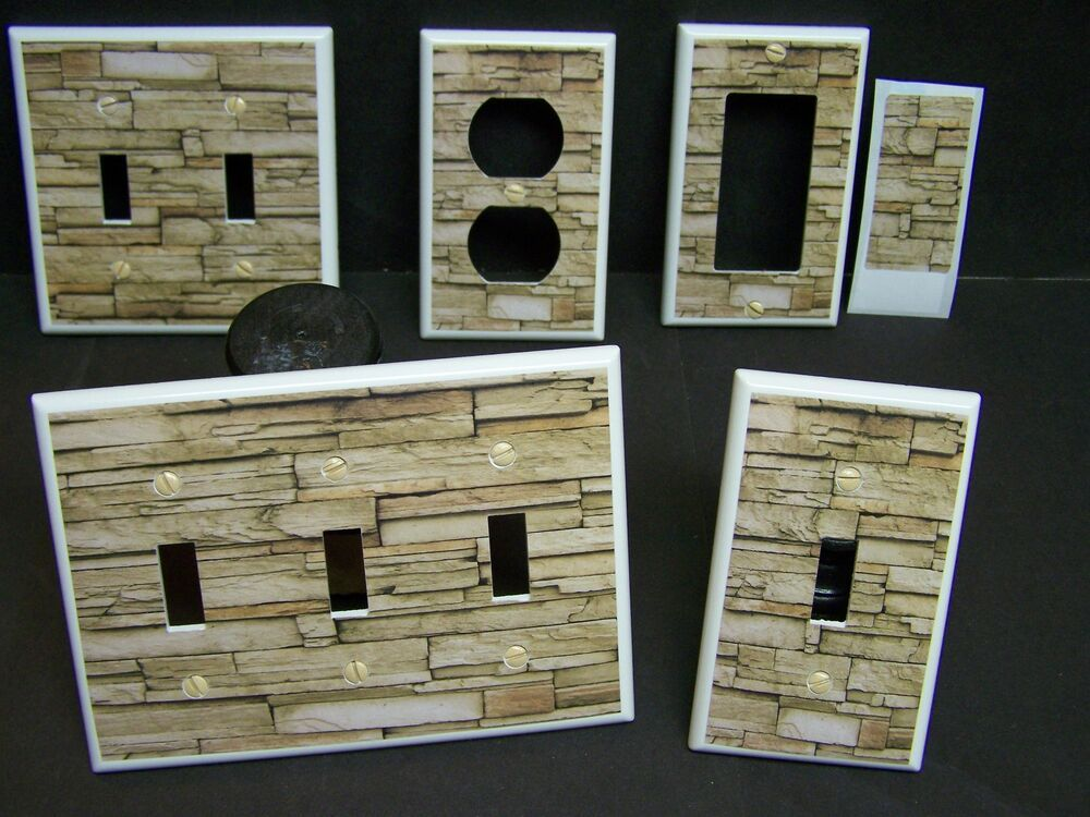 Faux Rustic Stacked Stone Wall Shades Of Brown Light Switch Cover Plate Leviton Light Switch Plate Cover Stone Wall Design Light Switch Covers