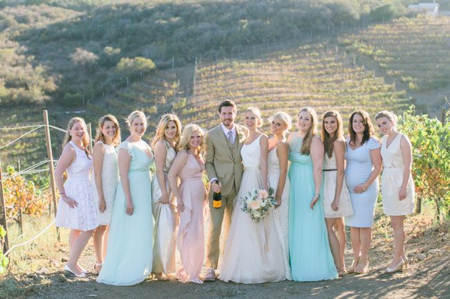 Pastel Saddlerock Ranch Wedding Cady Page Although There Was No Official Party Many Of S Friends Chose To Wear Muted