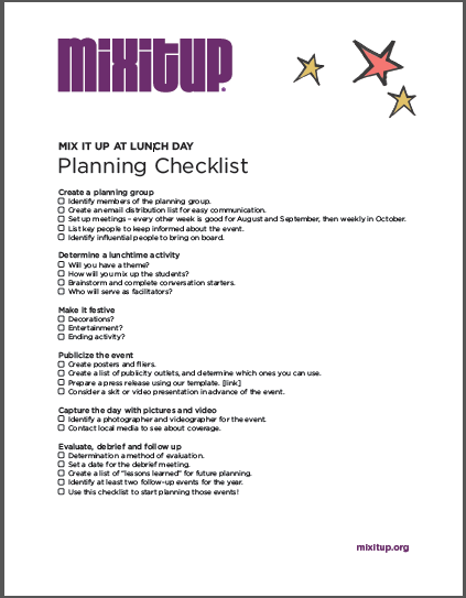 Mix It Up Planning Checklist  Mix It Up At Lunch