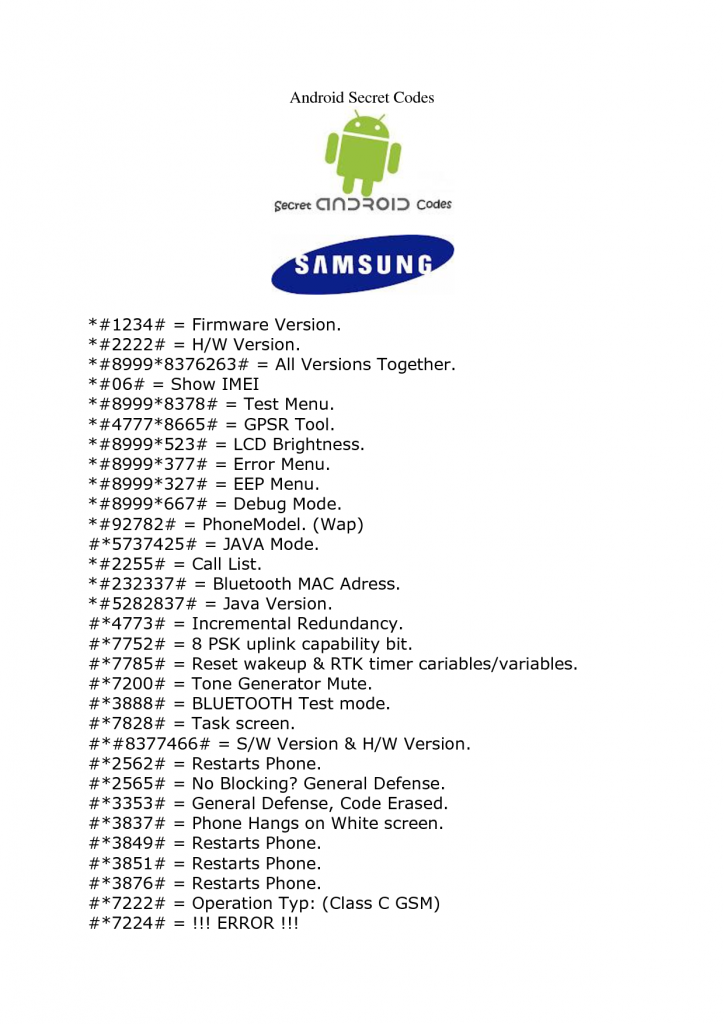 samsung-mobile-codes | Technical | Android phone hacks