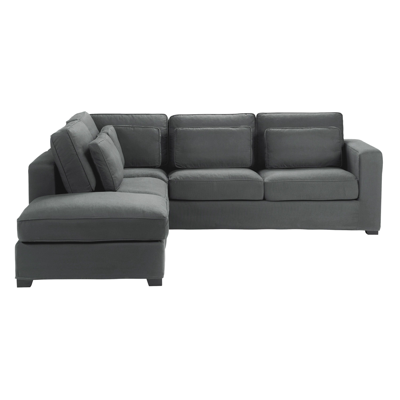 Canapé d angle 5 places en coton gris ardoise Milano