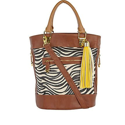 Brown Zebra Shopper Tote Bag