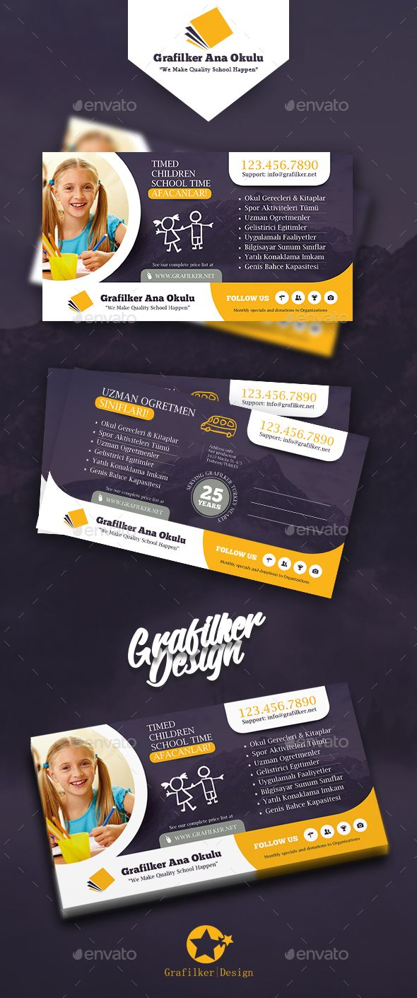 Kids School Postcard Templates | Volantes