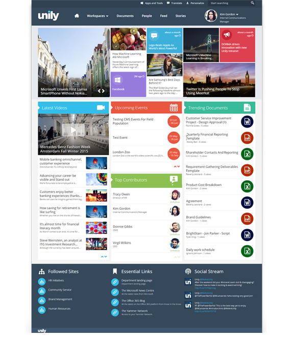 Unily intranet built on microsoft office 365 and for Intranet portal design templates