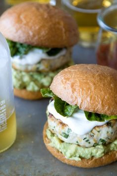 Cheddar Jalapeno Chicken Burgers with Guacamole -- top with Greek yogurt instead of sour cream.