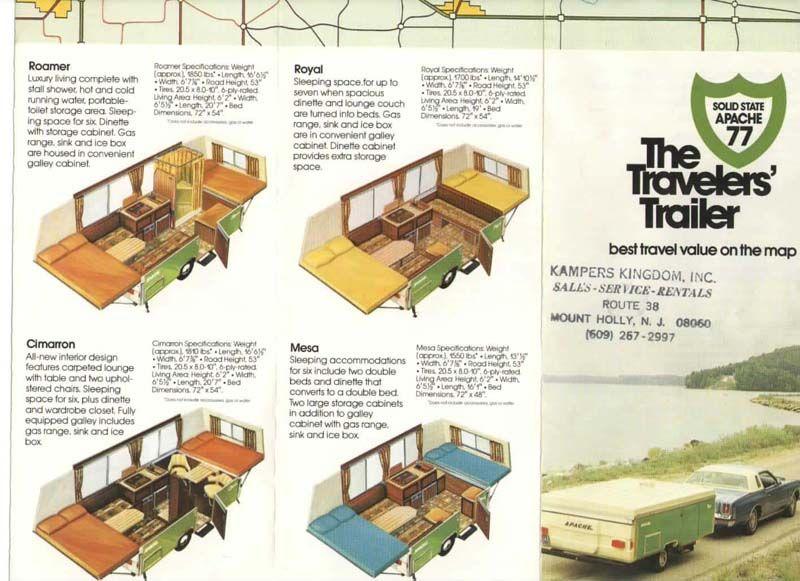 1977 Apache Ranger Fold Up Travel Trailer 2950