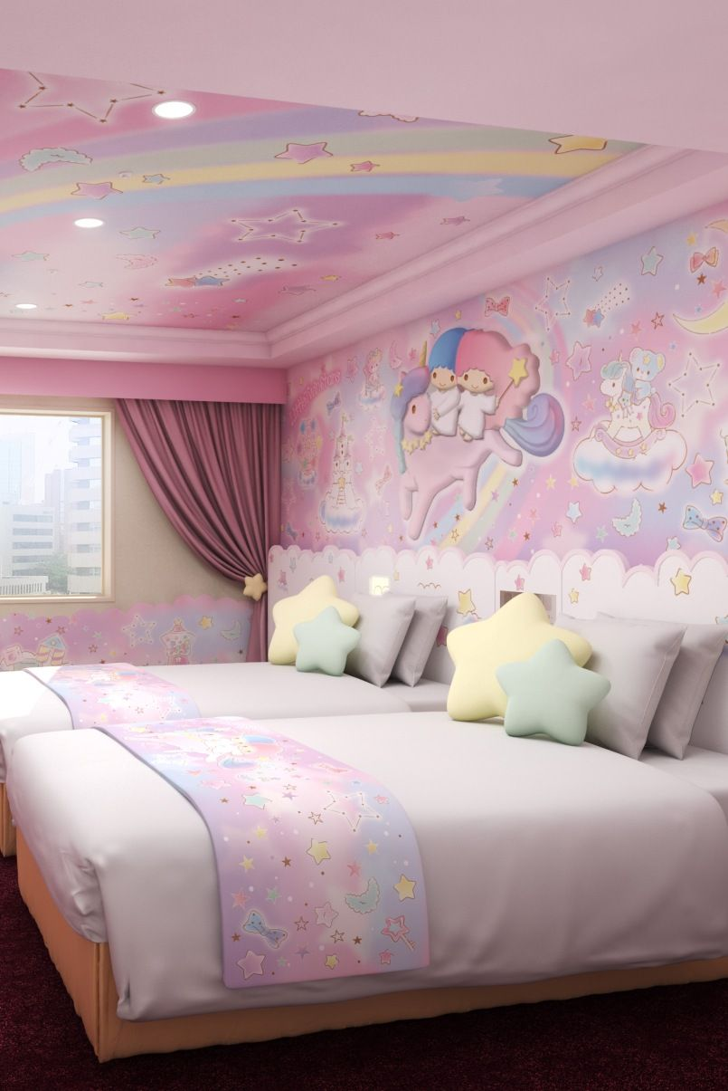 Keio Plaza Hotel Tama Opens My Melody Little Twin Stars Rooms Kawaii Bedroom Redecorate Bedroom Pastel Room