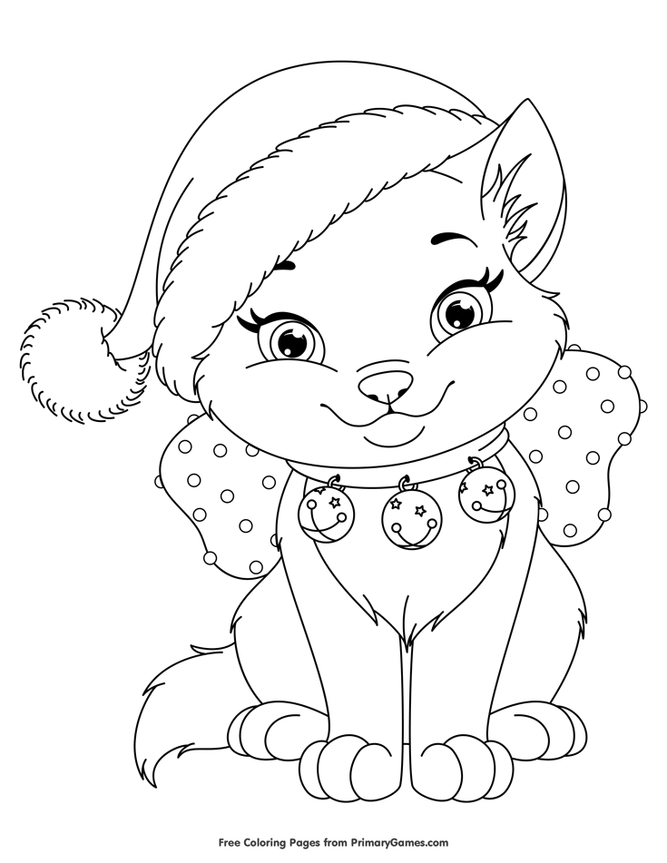 Free christmas kitten coloring pages coloring page for Free kitten coloring pages