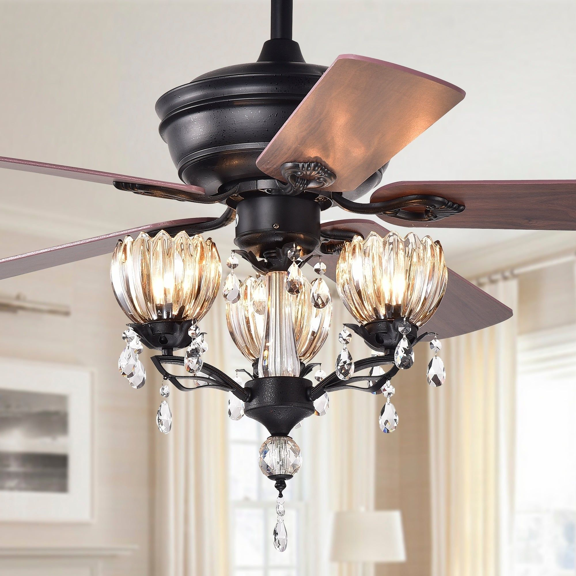 Garlow matte black 5blade lighted ceiling fan with