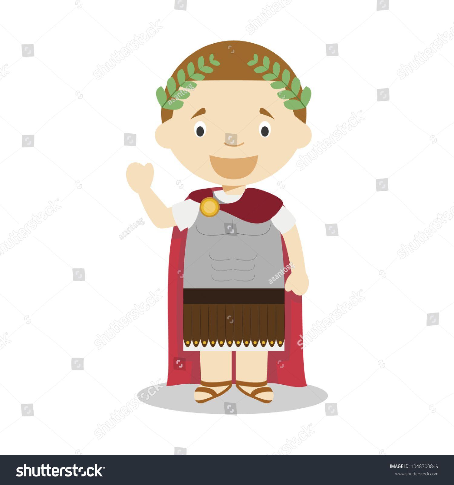 Julius Caesar Cartoon Character Vector Illustration Kids