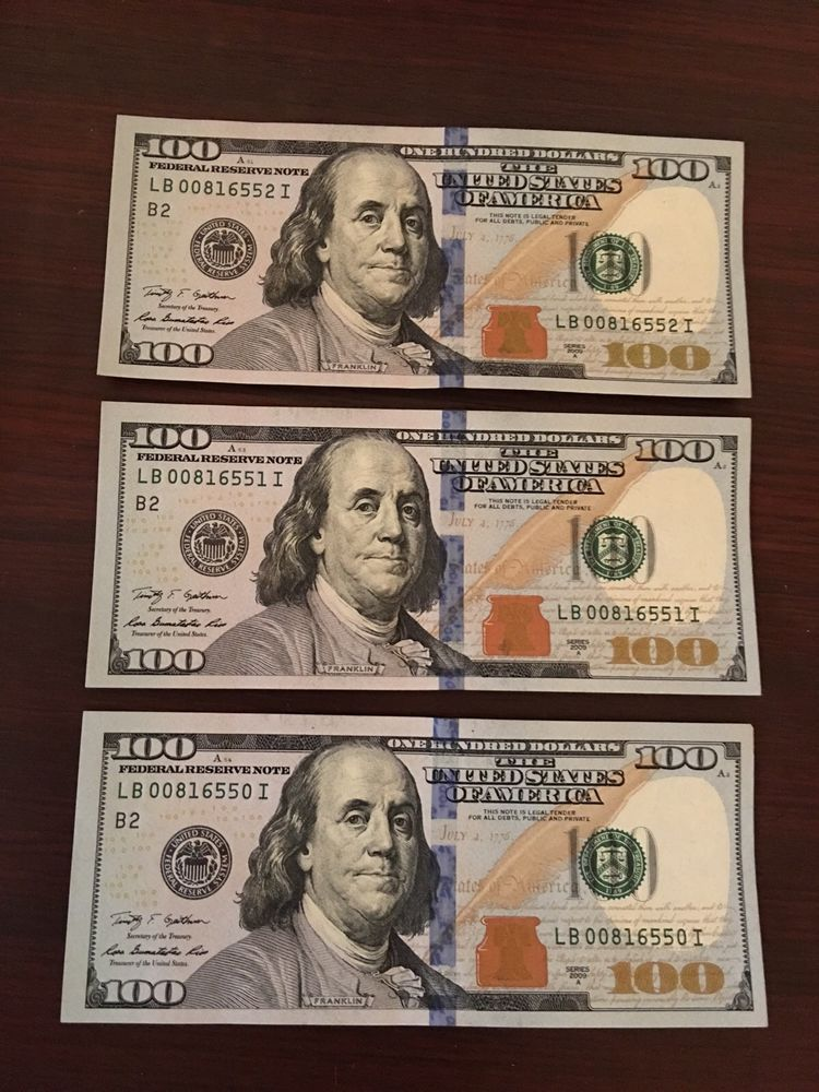 2009a federal reserve one hundred dollar bills 100 3 consecutive au