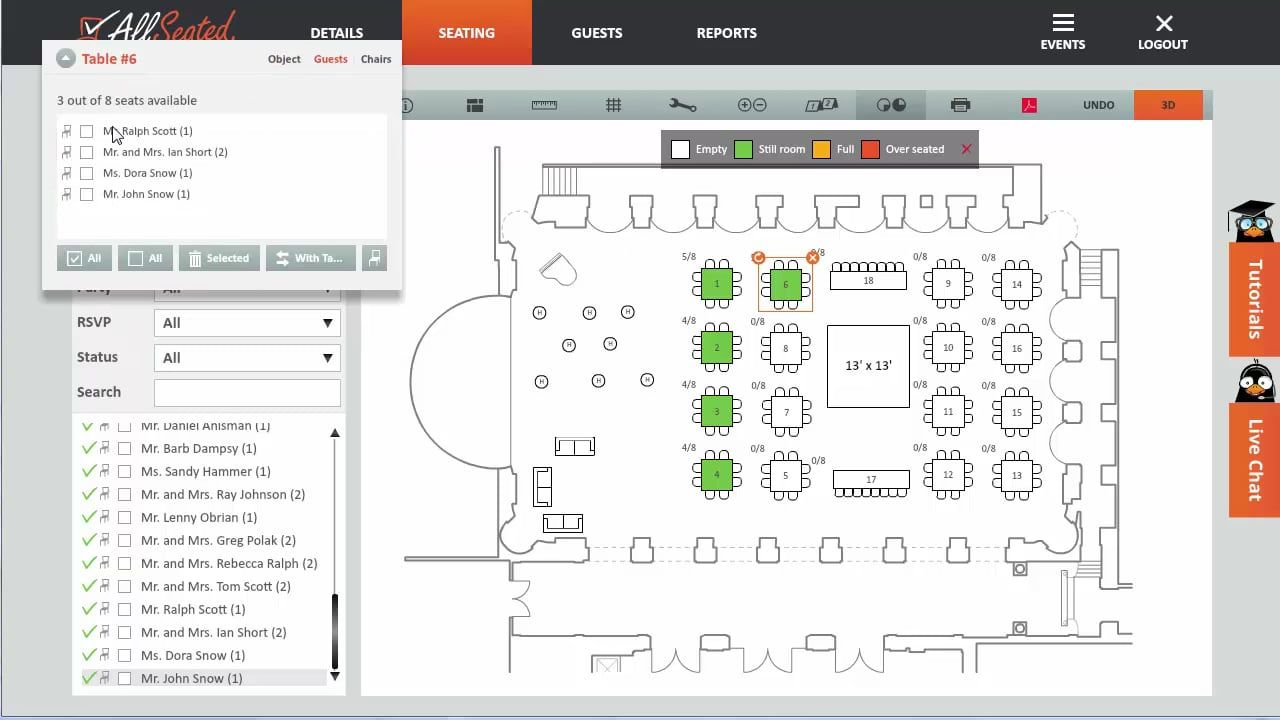 virtual seating chart allseatedcom with 3d visual options plan layout and seating easily and electronically