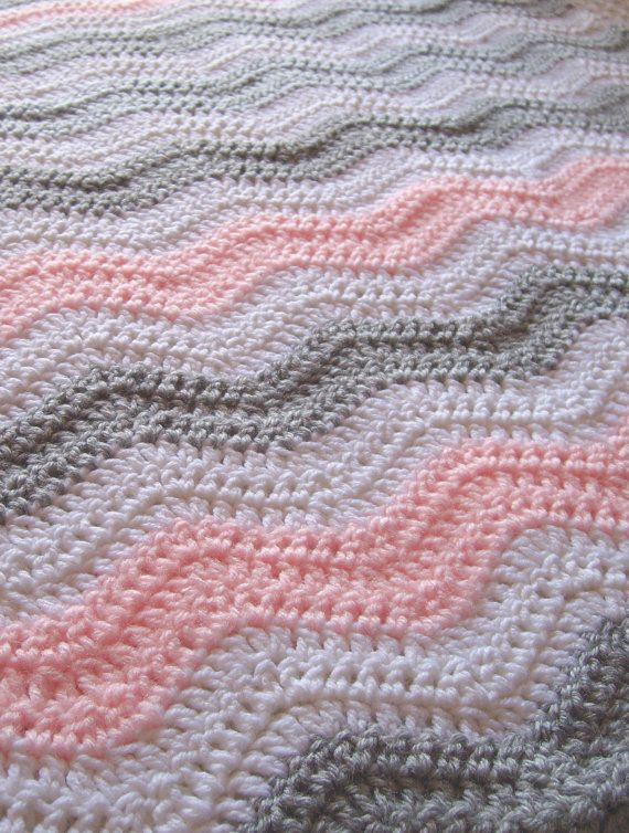 Pink and Gray Chevron Baby Blanket Crochet Baby par puddintoes ...