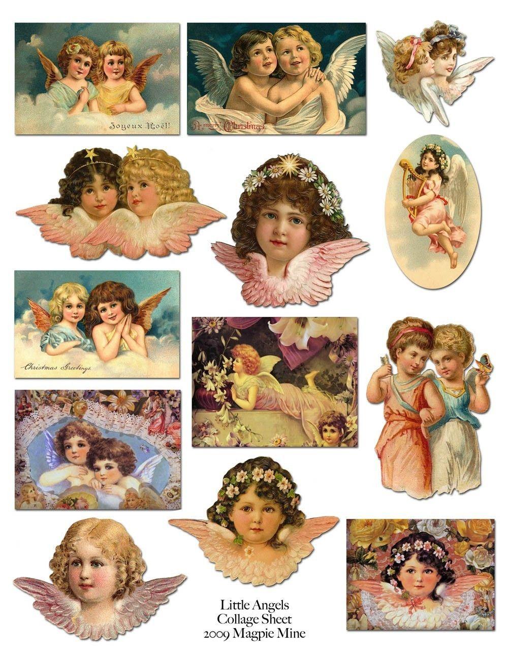 Little Victorian Angels Printable Collage Sheet - Sweet Vintage Images - Digital…