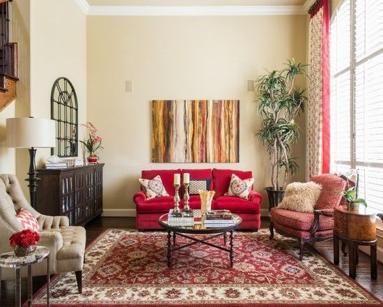 Lovely Transitional Living Room From Interior Design Dallas Also Crimson  Couch Color With Cushions And
