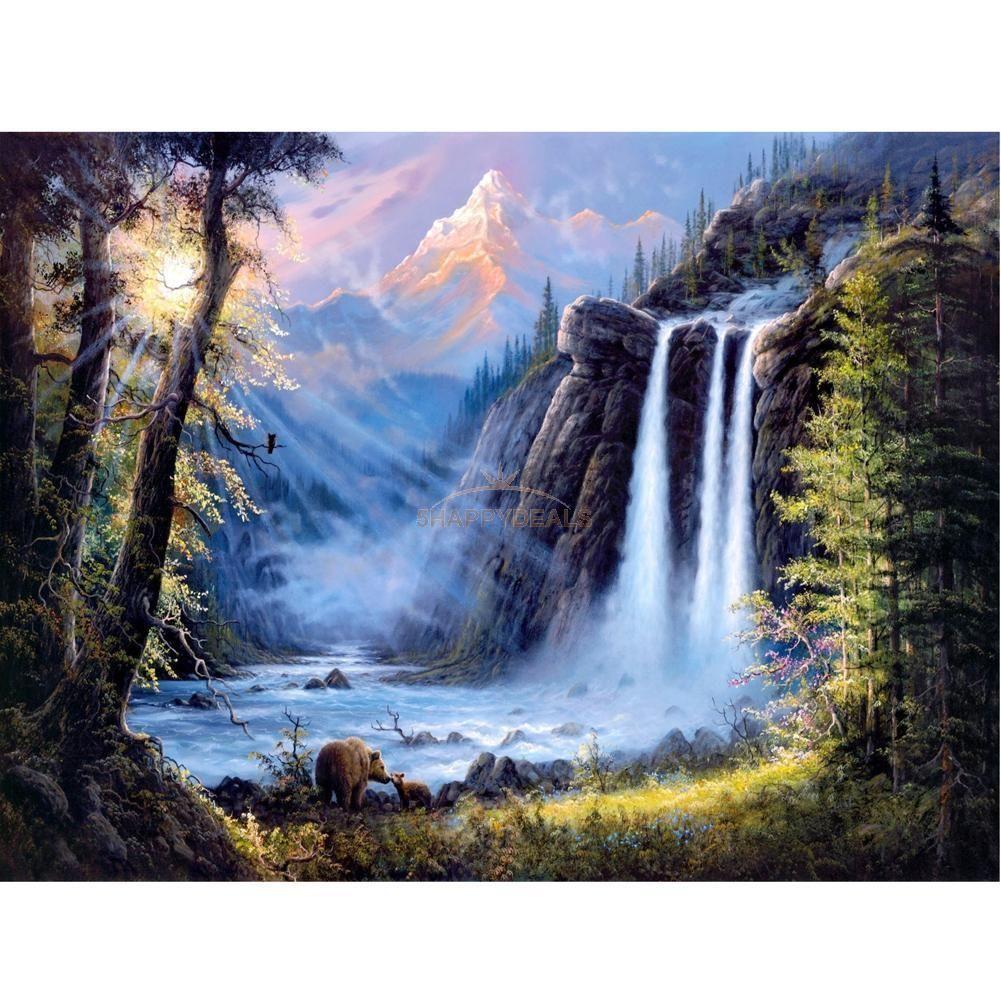 Waterfall Landscape Diamond Embroidery 5d Diy Painting Cross Stitch Home Decor Waterfall Scenery Waterfall Paintings Cross Paintings