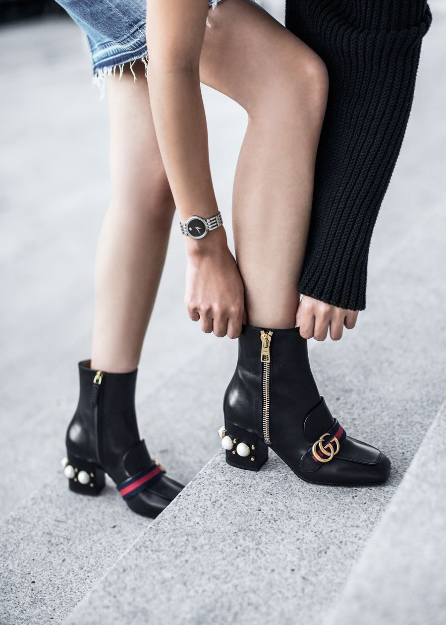 5bce099511e Shoe Alert  Gucci Peyton Pearly-Heel Ankle Boot