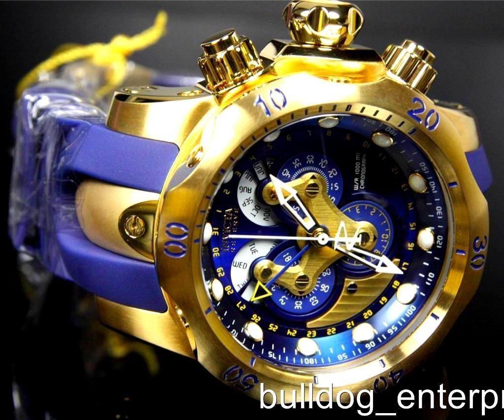 ef44694b4a6 Mens Invicta Reserve Venom Swiss Movt Master Calendar Gold Blue Watch New  14465 | eBay
