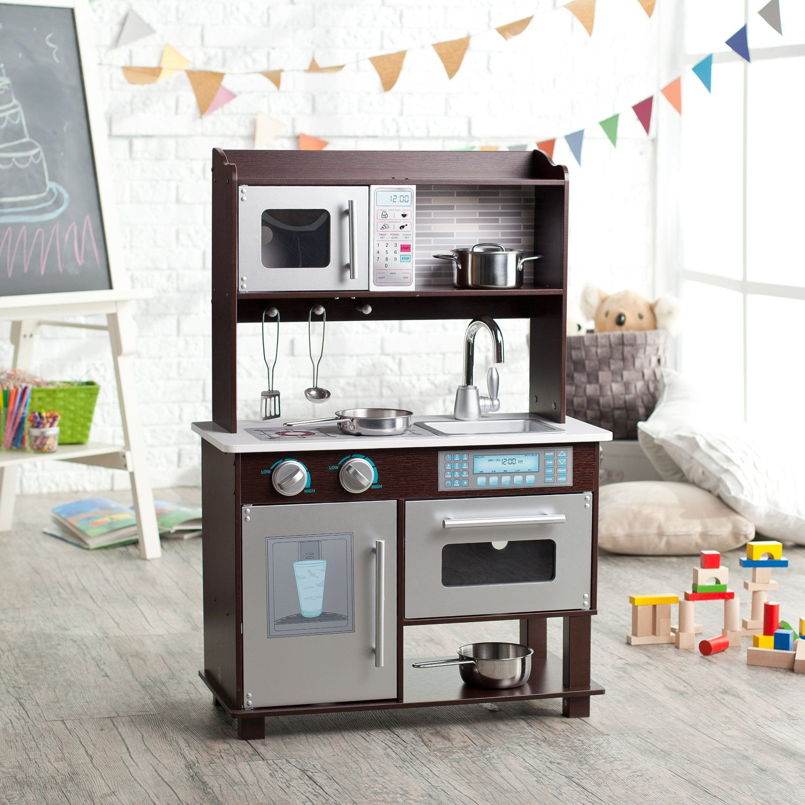 Charming KidKraft Espresso Toddler Play Kitchen With Metal Accessory Set   $99.98