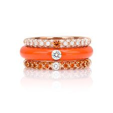 Adolfo Courrier Pop Collection Orange and Diamond Band Ring lwC2f4uw71