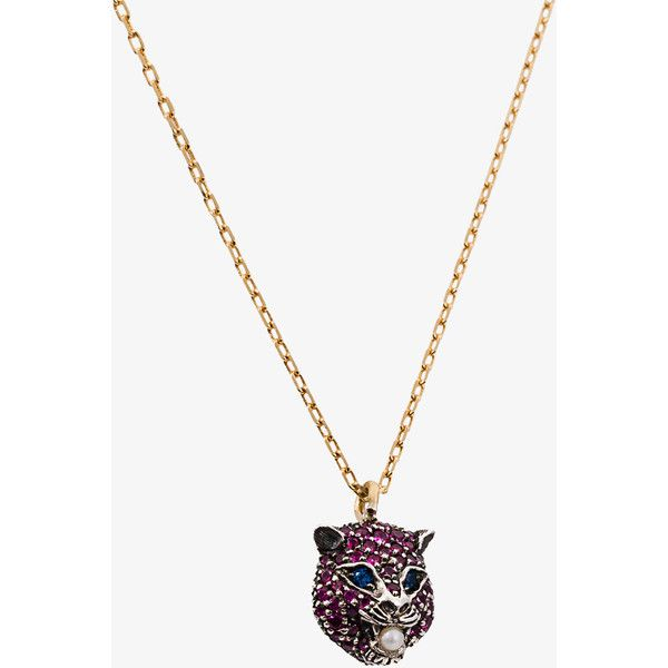 Gucci 'Marché des merveilles' cat pendant and gold chain (13.650 DKK) ❤ liked on Polyvore featuring jewelry, pendants, pink pendant, 18k yellow gold pendant, cat pendant, gold pendant and 18k pendant