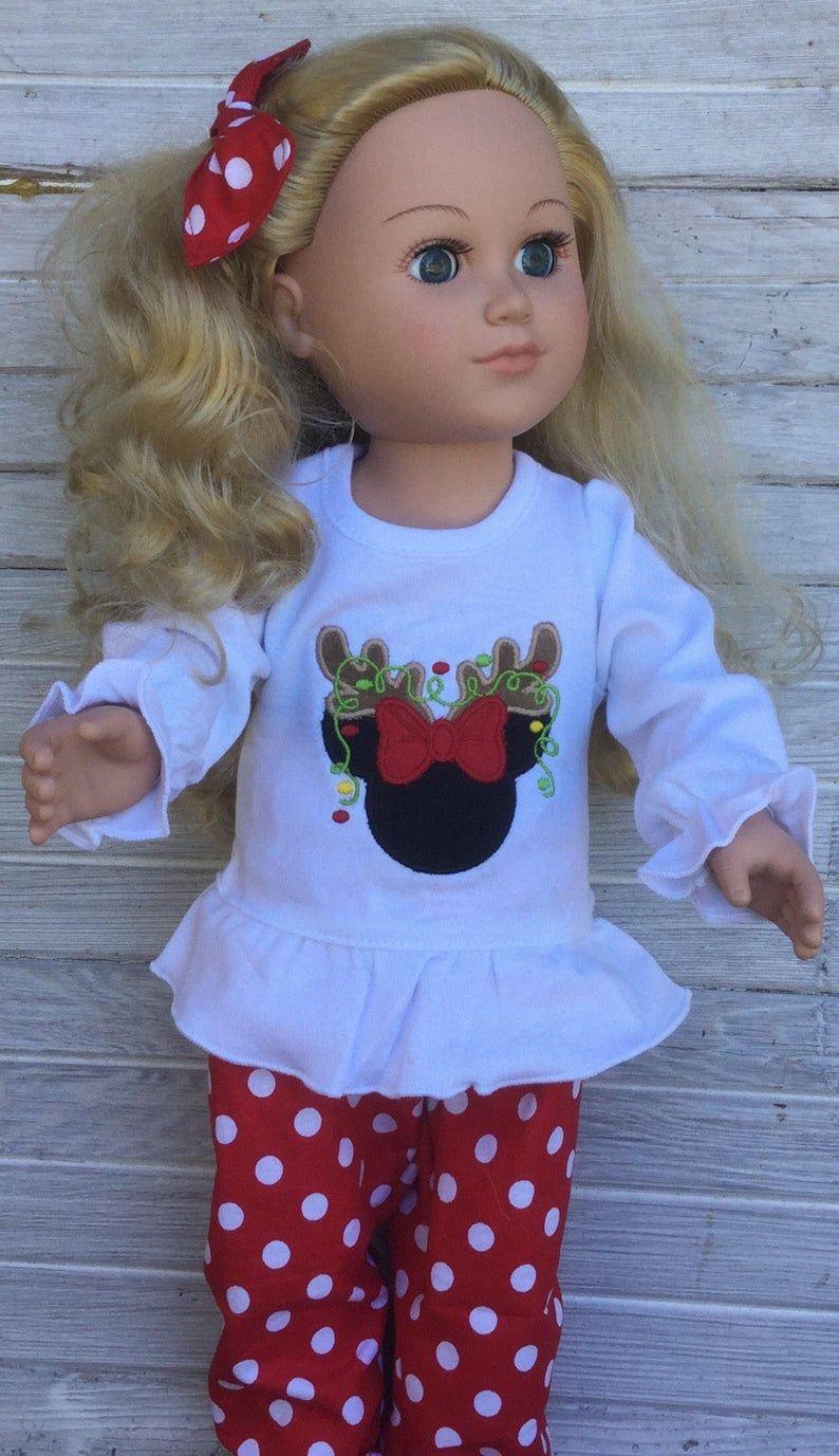 Blouse Reindeer Tutu Leggings Christmas Outfit For 18 in American Girl Doll