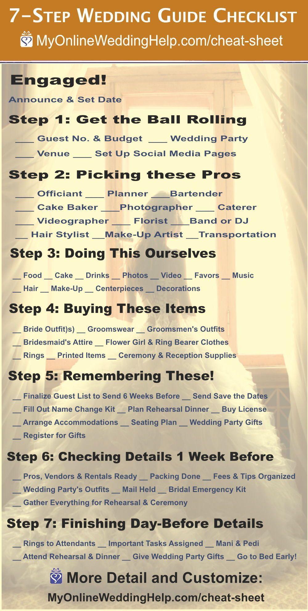 7 Step Wedding Guide Checklist And Printable Cheat Sheet Wedding Guide Checklist Wedding Planning Checklist Printable Wedding Planning Checklist Free Printable
