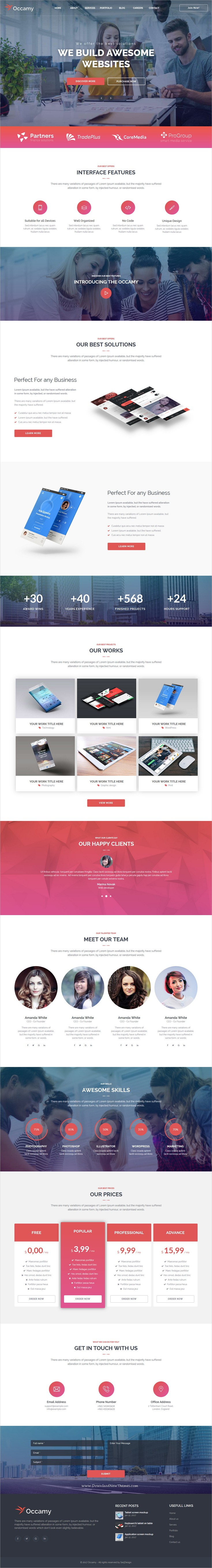 Occamy is clean and modern design multipurpose responsive adobe
