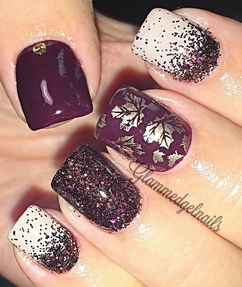 Gel Nails Fall Leaves Wine Color Foil Fall Gel Nails Autumn