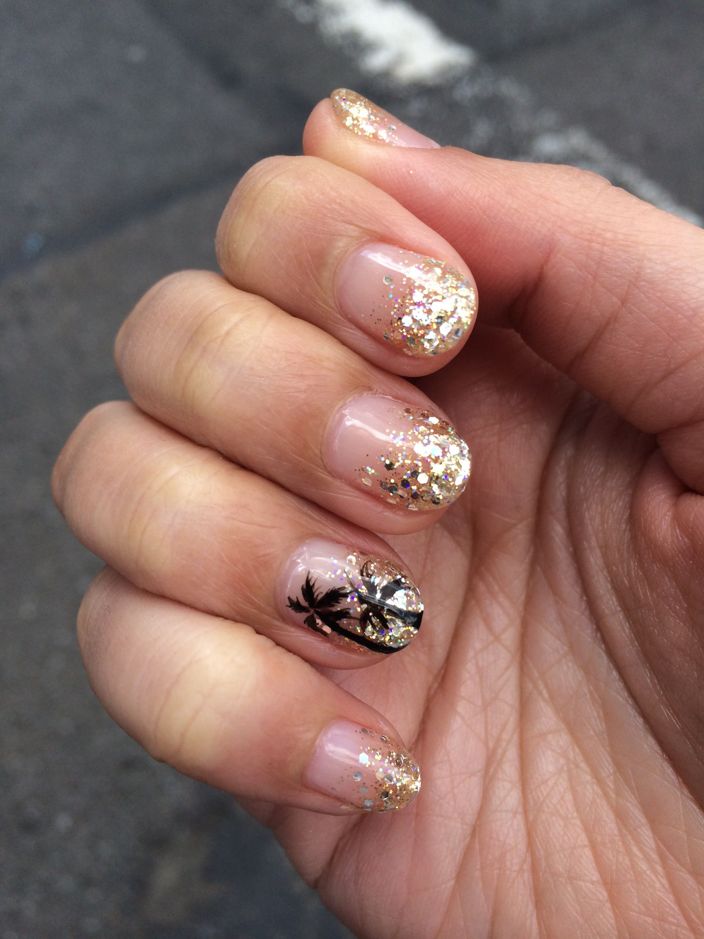 Palm Tree And Gold Glitter Gradient Nails