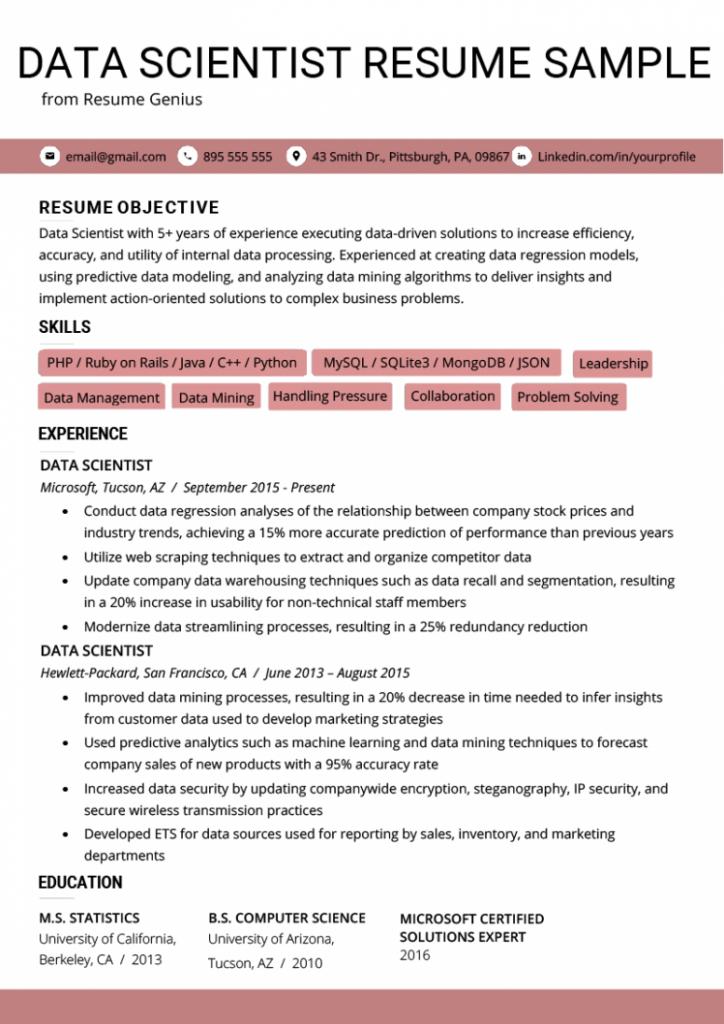 12 normal resume for job  data scientist resume skills