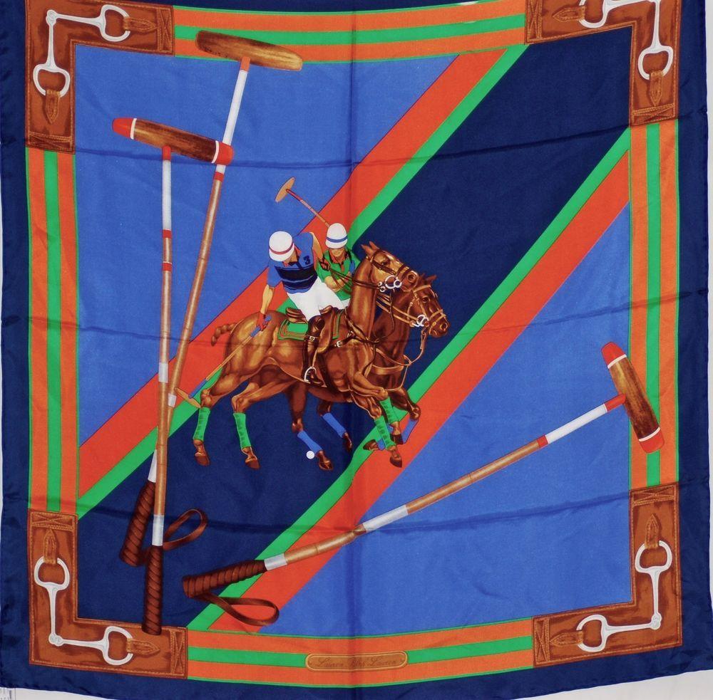 "NWT Ralph Lauren 100% Silk Twill Square Scarf w/Equestrian detail 36""x36"" 4F0344 #RalphLauren #NeckScarf"