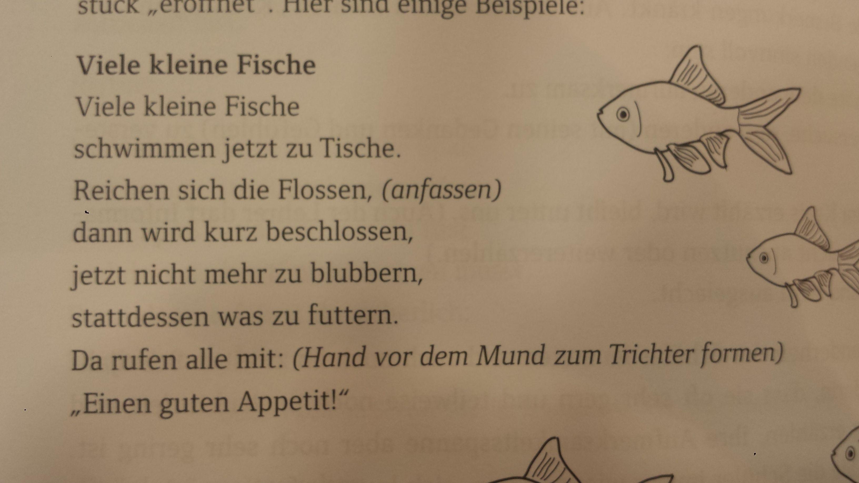 Tischspruch Tisch Spruch viele kleine Fische, Essen, Mittagessen ...
