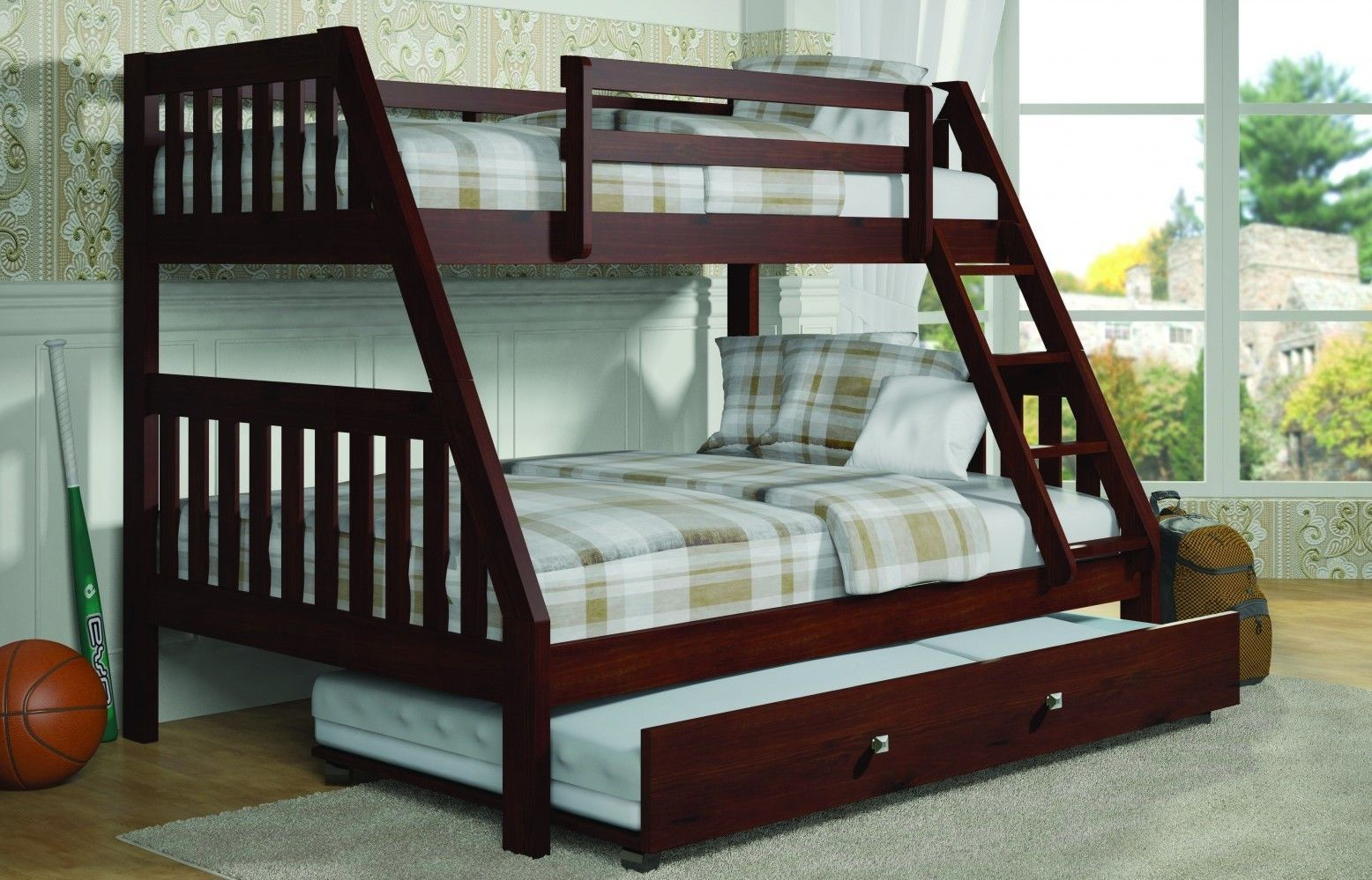 Loft bed twin over queen  Ian Modern Dark Wood Twin over Full Bunk Bed with Trundle  Bunk bed