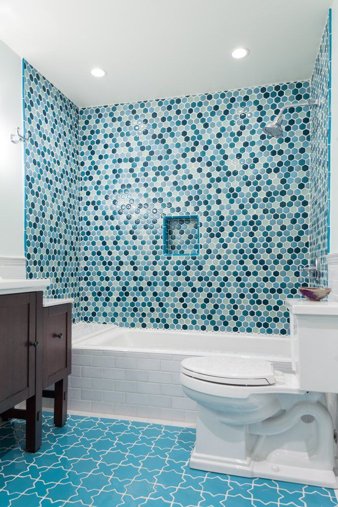 Bathroom Remodel Glass Tile eclectic blue bathroom remodel | installation gallery | fireclay