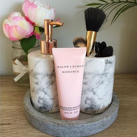 Love This Snap Of Our Marble Bathroom Accessories From Using The Soap Pump For Moisturiser And Toothbrush Holder Makeup Brushes Genius