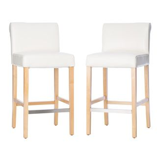 Amazing Cosmopolitan Modern White Leather Counter Stools Set Of 2 Andrewgaddart Wooden Chair Designs For Living Room Andrewgaddartcom