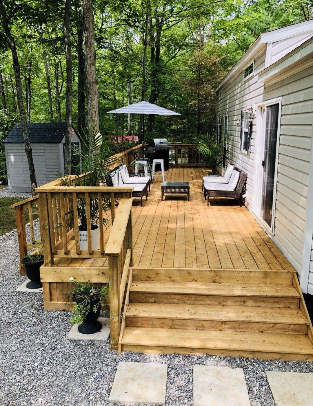 Rv Landscaping Mobile Home Porch Patio Deck Designs Mobile Home Exteriors