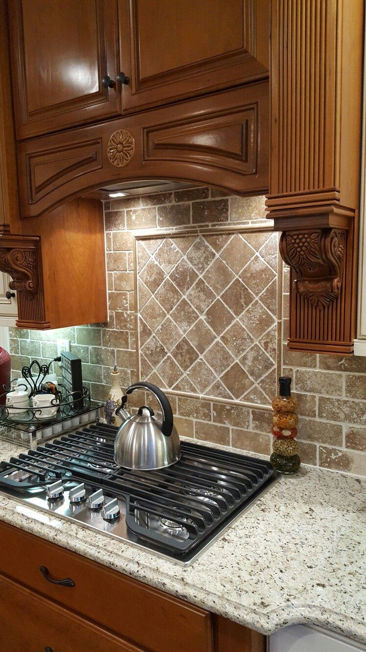Travertine backsplash in Walnut and Giallo Ornamental granite | Home ...