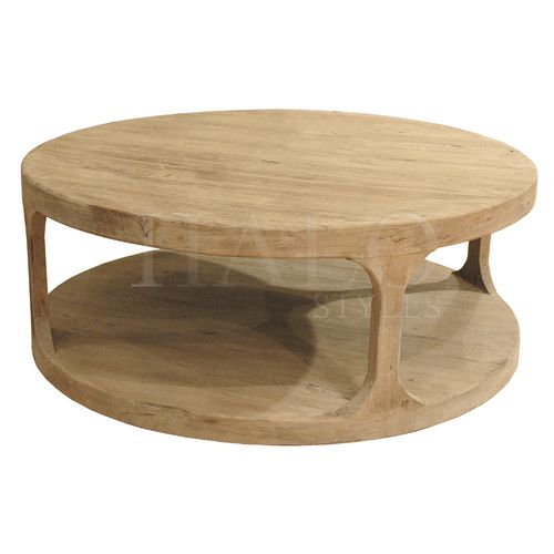 Halo Styles, Martens Round Coffee Table, Laurent, Planked Top, Weathered  Wood,